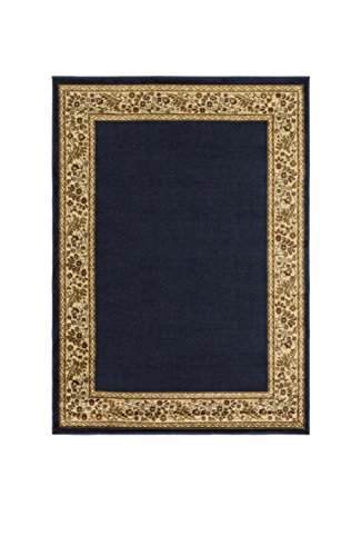 Diva At Home 5.25' x 7.25' Garden Framed Outer Space Black and Burnt Sienna Brown Area Throw Rug (Sienna Rug Wool Burnt)