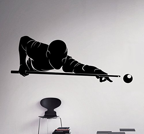 Billiards Player Wall Decal Sport Game Vinyl Sticker Home Decor Ideas Room Interior Removable Wall Art 1(bld)