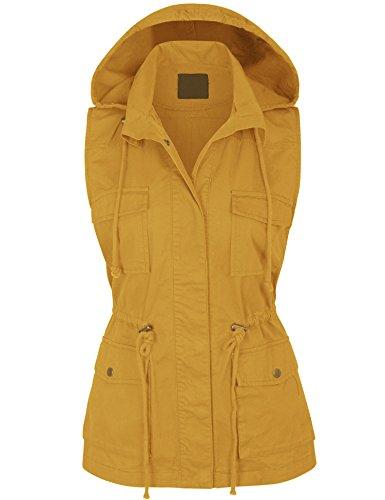 KOGMO Womens Military Anorak Safari Utility Vest with Hood-1X-MUSTARD