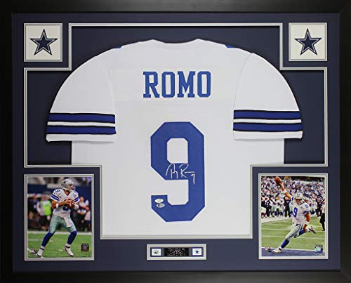 Tony Romo Autographed White Dallas Cowboys Jersey - Beautifully Matted and Framed - Hand Signed By Tony Romo and Certified Authentic by Beckett - Includes Certificate of Authenticity