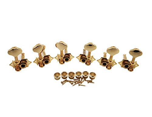 Gold Western Style Mounting - Wilkinson Vintage Guitar Machine Heads WJ-28N - (3R + 3L) Open Gear Butterbean 19:1 Gear Ratio Tuning Key Pegs Tuners Replacement Parts (Gold)