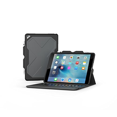 ZAGG Rugged Messenger 7 Color Backlit Case and Bluetooth Keyboard for 2017 Apple iPad Pro 10.5 - Black (For Keyboard Apple With Ipad Case)