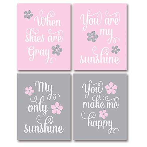 Gango Home Décor Adorable Pink and Grey You are My Sunshine.You Make Me Happy When Skies are Grey Paper Panel; Childs Room or Nursery Decor; Four 8x10in Unframed Paper Posters