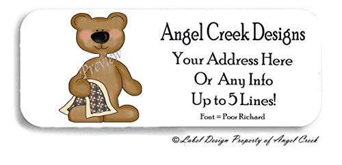 60 Cute Teddy Bear w/Blankie Baby Personalized Return Address Labels