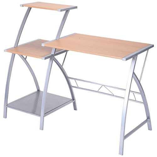 Tangkula Computer laptop writing study desk table home office furniture w/ 3-tier shelf