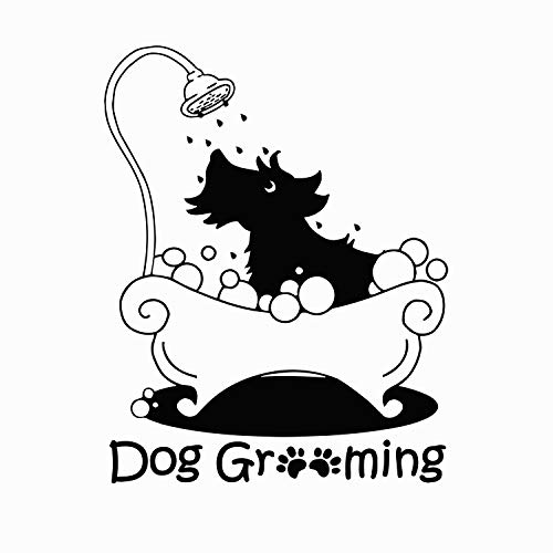 (Dog Grooming Wall Decal Pet Grooming Salon Vinyl Stickers Pet Shop Decoration Shop Window Decals)