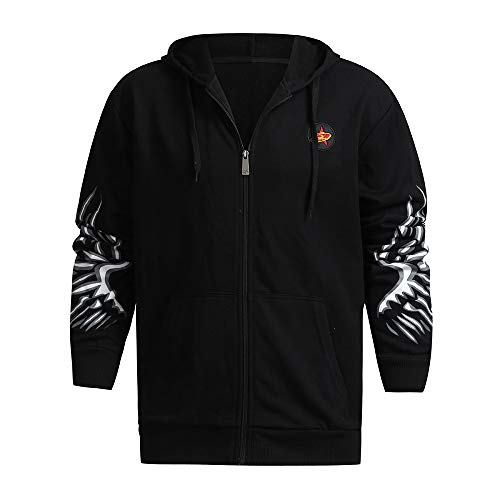 ANJUNIE Leisure Jacket Men's Autumn Winter Printed Shoulder Collar Casual Hooded Coat(2-Black,XXXL) ()