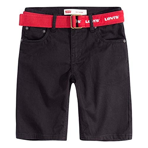 Levi's Boys' Toddler 511 Slim Fit Soft Brushed Shorts, Black Beauty Belted, - Wide Jeans Belted