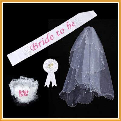 Party DIY Decorations - 4pcs Set Fashion Garter Veil Hen Night Party Bride To Be Bachelorette 1 Lace White Rosette Mantilla - Plates Nightgown Cake Apron Slippers Long Shopping Jacket Underwear M