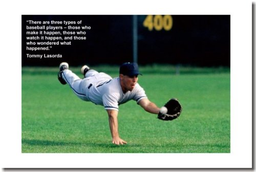 Posters Motivational Baseball - There Are 3 Types of Baseball Players (Diving Catch)- Classroom Motivational Poster