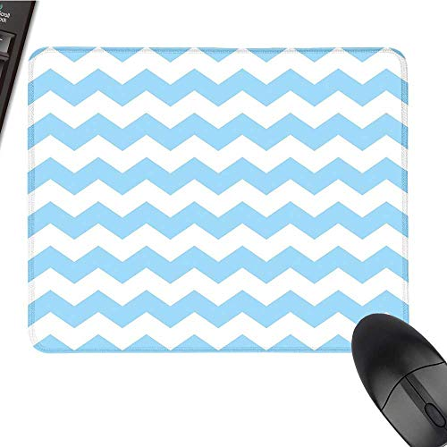 Light BlueOffice Mouse PadOld Fashioned Classic Chevron Zigzags Baby Kids Room Nursey Themed TileWaterproof Mice Pad 9.8
