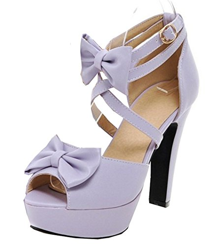 Easemax Womens Peep Toe Platform High Chunky Heel Ankle Buckle Strap Sandals With Bows Purple 1iVIgwL