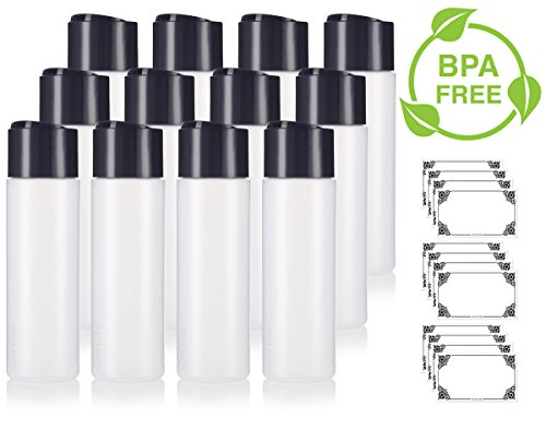 8 oz / 250 ml Professional Natural Clear Refillable Plastic Squeeze (BPA Free) Bottle with Wide Black Disc Cap Lid (12 pack) + Labels for Shampoo, Conditioner, Body Wash, Lotion, and more