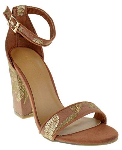 BAMBOO Influencer 17M Womens Open Toe Chunky Heel Sandals Mocha Fabric 8 ()