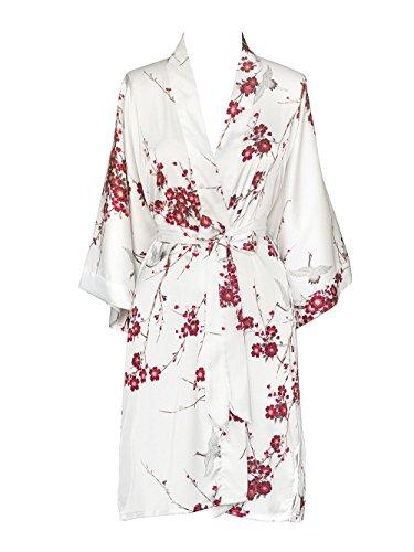 Robe Charmeuse Womens (Old Shanghai Women's Kimono Robe Short - Watercolor Floral, Cherry Blossom & Crane- White)