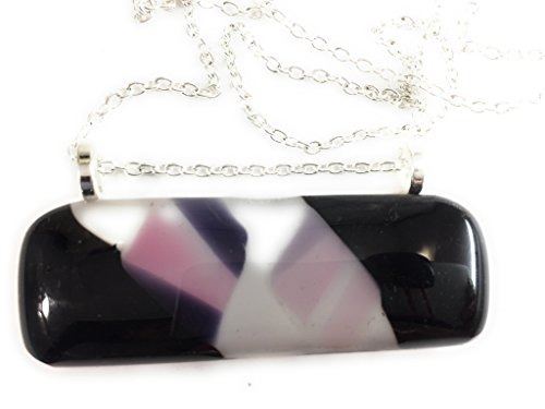 Black and Pink Fused Glass Bar Pendant (Black Fused Glass Pendant)