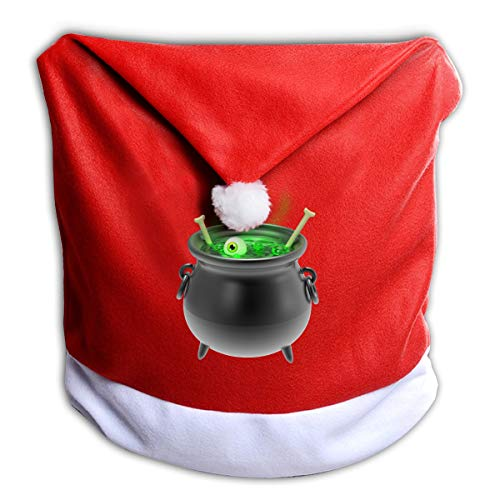 FUNMAX Halloween Eyeball Witches Brew Non-Woven Xmas Christmas Themed Dinner Chair Cap Hat Covers Set Ornaments Backers Protector for Seat Slipcovers Wraps Coverings Decorations -