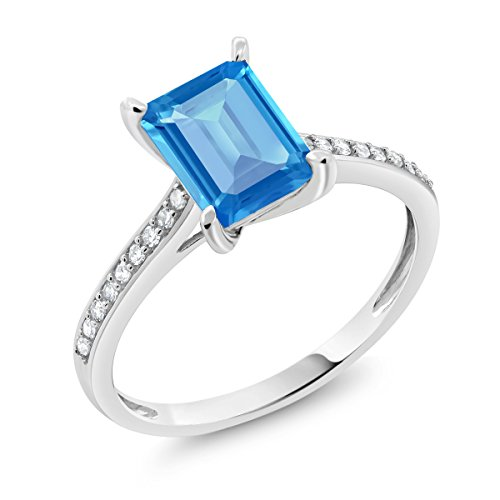 Gold Swiss Cut Ring - 10K White Gold Swiss Blue Topaz and Diamond Women's Engagement Ring 2.03 Ct Emerald Cut (Size 6)
