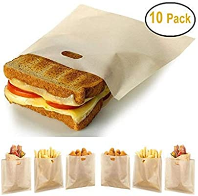 Stephanie Lane - Non-Stick Reusable Toaster Bags (Set of 10) Various Sizes, Create Grilled Cheese Sandwiches in Toaster, Microwave Oven or Grill, ...