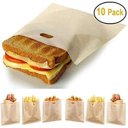 Stephanie Lane - Non-Stick Reusable Toaster Bags (Set of 10) Various Sizes, Create Grilled Cheese Sandwiches in Toaster, Microwave Oven or Grill, Pizza Panini & Garlic Bread (The Best Sandwich Toaster)