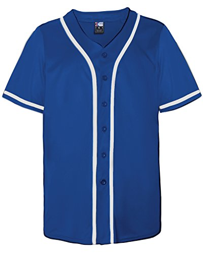 MOLPE Hip Hop Hipster Button Down Baseball Jersey (M, Blue/White-2) ()