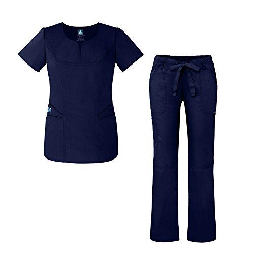 Universal Women's Scrub Set – Fashion Scrub Top Multi-Pocket Scrub Pants - 903 - Navy - L