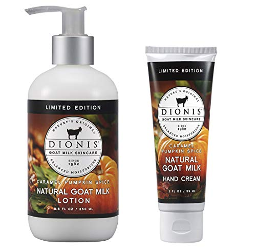 Dionis Goat Milk Body Lotion and Hand Cream Gift Set (Caramel Pumpkin Spice, 2 Piece)