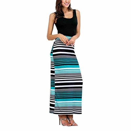 QHGstore Estiramiento a rayas de las mujeres cabido vestido de lápiz largo cuello redondo sin mangas largos vestidos negro