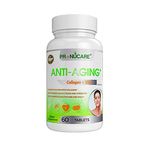 PRONUCARE Anti-Aging Collagen Hydrolysate Resveratrol Glucosamine DMAE Polypodium leucotomos Multivitamin Firming Complex for Men & Women