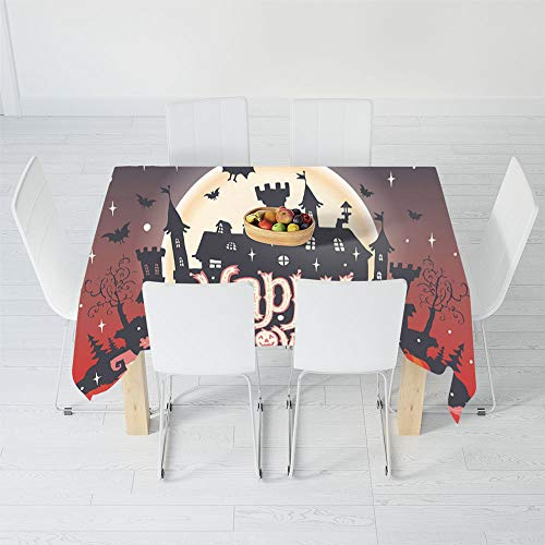 TecBillion Polyester Tablecloth,Halloween,for Wedding Banquet Restaurant,90 X 60 Inch,Medieval Gothic Castle with Happy Halloween Typography