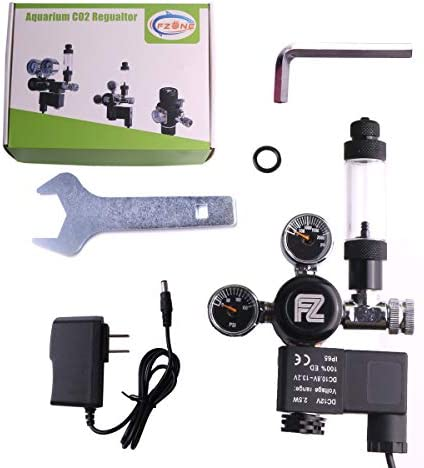 FZONE Aquarium CO2 Regulator DC Solenoid Mini Dual Gauge Display with Bubble Counter and Check Valve for US Standard CGA320 CO2 Cylinder
