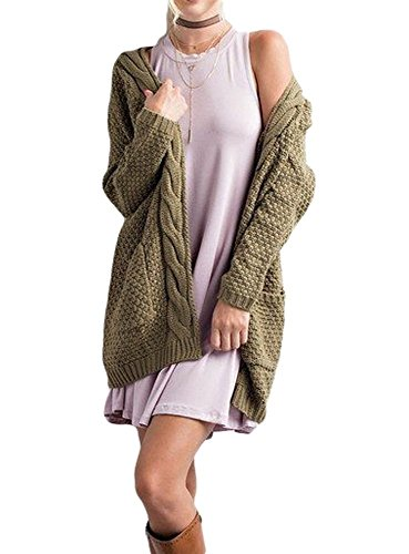 EastLife Women's Open Front Cardigans Chunky Boyfriend Warm Pointelle Long Sleeve Sweater Tops