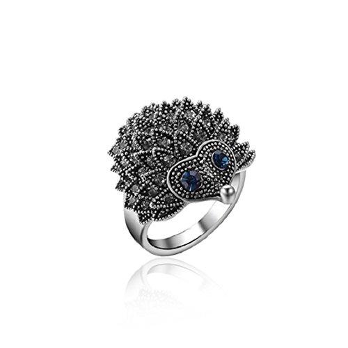 Ladies Womens Bling Rhinestone Vintage Animal Hedgehog Ring Party Finger Rings Band (Size 8)