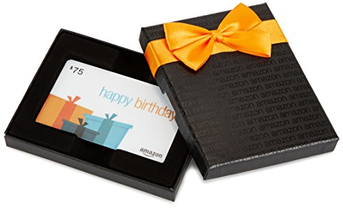 - Amazon.com $75 Gift Card in a Black Gift Box (Birthday Presents Card Design)