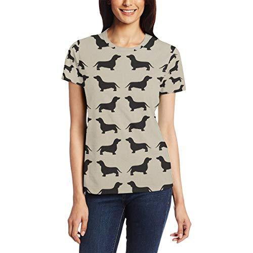 Printed Black Dachshund Women's Short Sleeve T-Shirt Crew Neck Casual Soft Elastic Printing Tee Tops for Summer