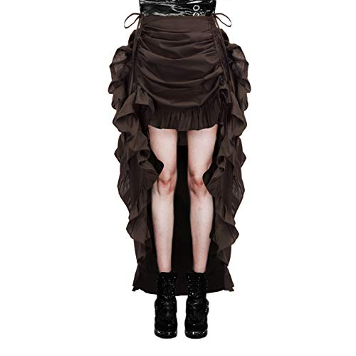 Women Victorian Steampunk Pirate Skirt Bustle Style Renaissance Costume M Coffee -