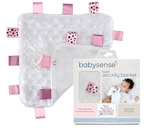 Baby Sense Grey Warm and Cozy Taglet Security Blanket with Pacifier Tag | Soft & Soothing Toddler Comfort Blanket | Durable & Machine Washable | Baby Shower Gift (Pink)