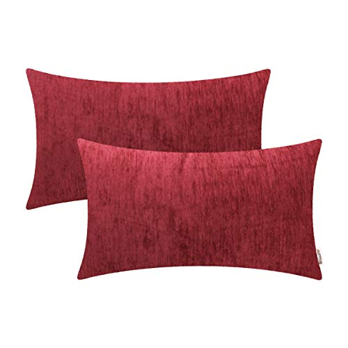 BRAWARM Comfy Bolster Pillow Covers Cases for Couch Sofa Bed Solid Soft Chenille Striped Lumbar Cushion Covers Cozy Textured Pillowcase Both Sides for Home Decor 12 X 20 Inches Burgundy Pack of 2 ()