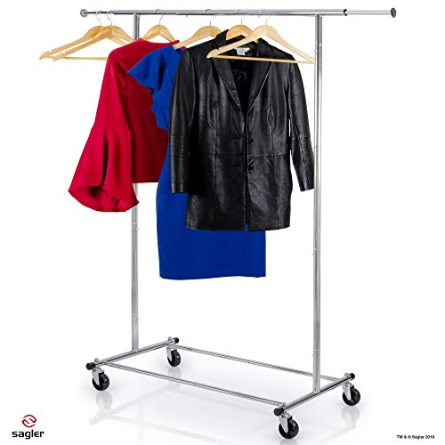 Clothes Rack Heavy Duty Commercial Grade (Chrome) Clothes Rail for Clothing, Garment Rack Adjustable Clothing Rack, Clothing Rail 200 LBS Capacity