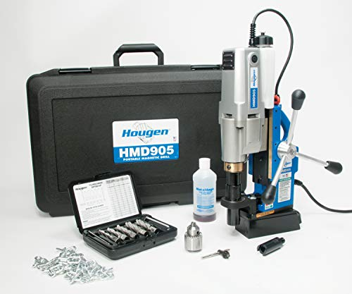 "Hougen HMD905S 115-Volt Swivel Base Magnetic Drill with Coolant Bottle Plus 1/2"" Drill Chuck, Adapter and 12002 Rotabroach Cutter Kit"