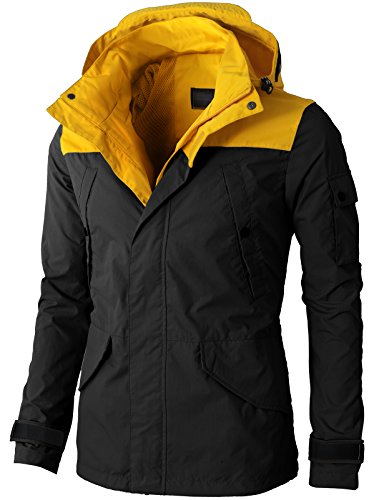 H2H Mens Lightweight Hoodie Jacket Zipper Closer Two Tone Color With Pockets BLACK US M/Asia L (KMOJA0274)