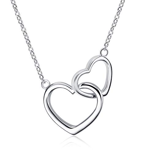 POPLYKE Sterling Silver Double Interlocking Heart Mother and Daughter Necklace for Women Sisters Girls