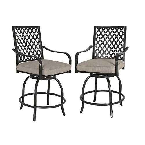 - Ulax furniture Outdoor 2-Piece Counter Height Swivel Bar Stools High Patio Dining Chair Set