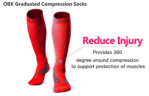 OBX Compression Socks for Men & Women-Professional Fit for Ruining&Racing-Knee High Socks for Athletics,Marathon,Travel,Shin Splints,hiking&Outdoor sports-Best for Muscle Recovery(1 pair)