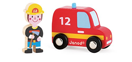 Janod Story Set City Firefighter Truck and - Toy Story Fire Truck