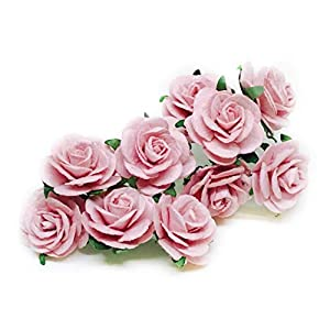 "1"" Blush Pink Paper Flowers Paper Rose Artificial Flowers Fake Flowers Artificial Roses Paper Craft Flowers Paper Rose Flower Mulberry Paper Flowers, 20 Pieces 50"