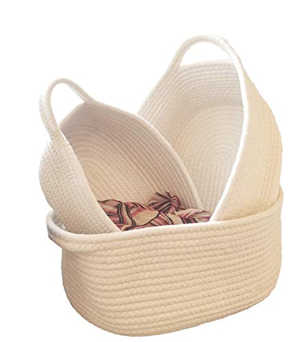 REM Concepts Natural Cotton Woven Baskets, Organizers and Storage Containers – Set of 3 in S-M-L Sizes – Tidy Up Any Area – Neutral Color – Fits Any Decor! (Set Rope Woven Boxes)