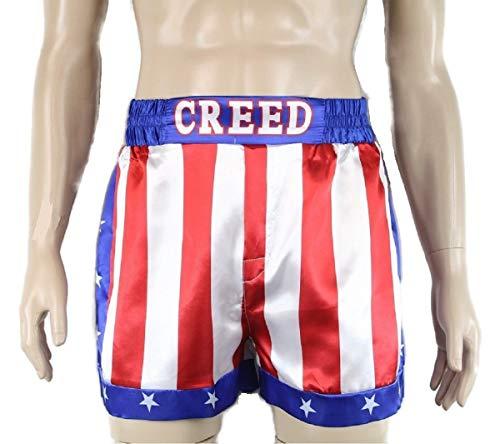 CREED Rocky Men's Apollo Johnson Movie Boxing American Flag Shorts Trunks boxers (M) ()