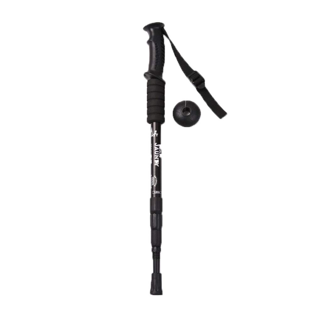 CCwenjing 2PCS/LOT Outdoor Tourism Four-Section Straight Handle Trekking Pole High-Intensity Lightweight Walking Stick Old Man Walking Stick (Color : Black, Size : 53-110cm-2PCS) by CCwenjing