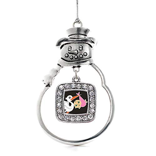 Inspired Silver - Stork Brings A Girl Charm Ornament - Silver Square Charm Snowman Ornament with Cubic Zirconia Jewelry